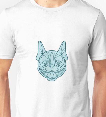 Boston Terrier Laughing Circle Mono Line Unisex T-Shirt