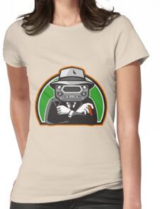 Mobster Car Grille Face Half Circle Retro Womens Fitted T-Shirt