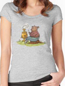Russian bear drink a tea Women's Fitted Scoop T-Shirt