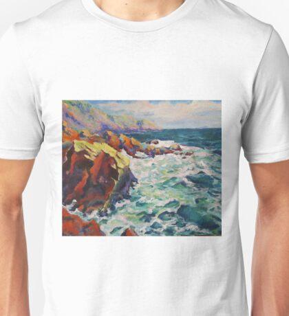 Original Artwork by Tiffany Aron Ocean Rocky Coast Unisex T-Shirt
