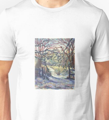 Original Artwork by Tiffany Aron Winter Scene with Fence  Unisex T-Shirt