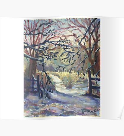 Original Artwork by Tiffany Aron Winter Scene with Fence  Poster