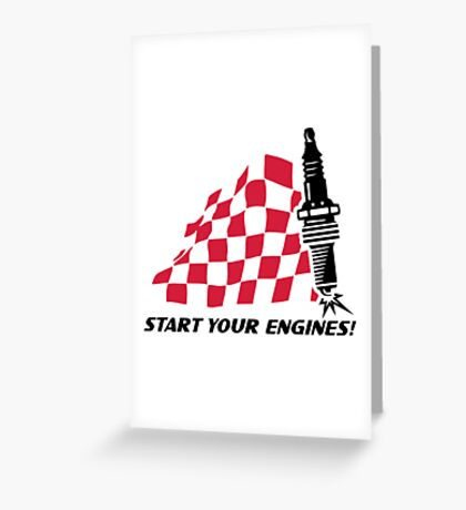 Start Your Engines Checkered Flag Shirts Greeting Card