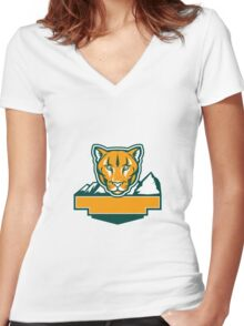 Cougar Mountain Lion Head Retro Women's Fitted V-Neck T-Shirt