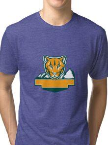 Cougar Mountain Lion Head Retro Tri-blend T-Shirt