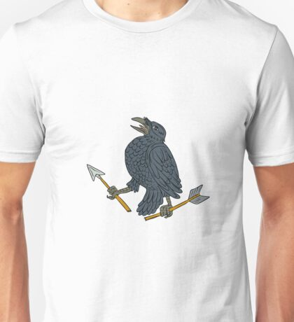 Crow Clutching Broken Arrow Drawing Unisex T-Shirt