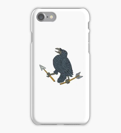 Crow Clutching Broken Arrow Drawing iPhone Case/Skin