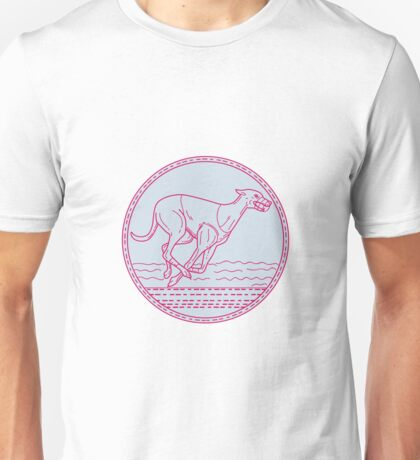 Greyhound Dog Racing Circle Mono Line Unisex T-Shirt