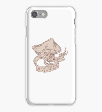 Skull Patriot Ribbon Flag Drawing iPhone Case/Skin