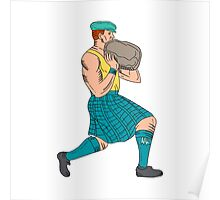 Stone Throw Highland Games Athlete Drawing Poster