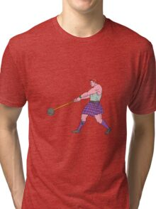 Weight Throw Highland Games Athlete Drawing Tri-blend T-Shirt