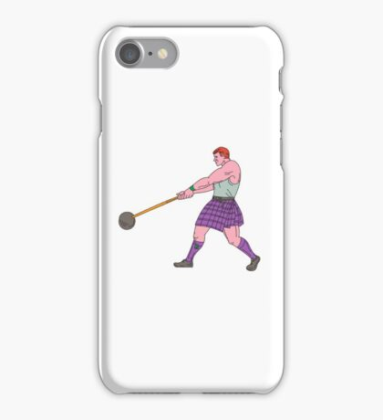 Weight Throw Highland Games Athlete Drawing iPhone Case/Skin