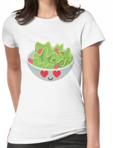 Salad Emoji Heart and Love Eye Womens Fitted T-Shirt