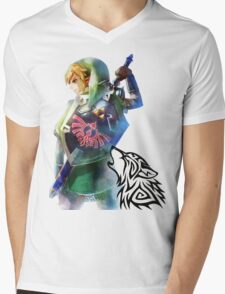 Zelda Link with Wolf Mens V-Neck T-Shirt