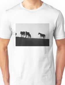 Black and White Horses Unisex T-Shirt
