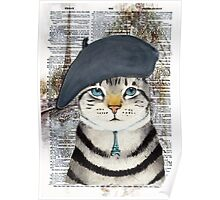 Charming French Cat in Paris. Perfect for cat lovers. Poster