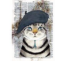 Charming French Cat in Paris. Perfect for cat lovers. Photographic Print