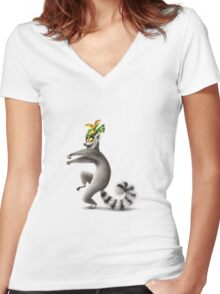 King Julien Women's Fitted V-Neck T-Shirt