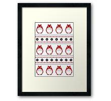 Totoro Winter Pattern - Red Framed Print