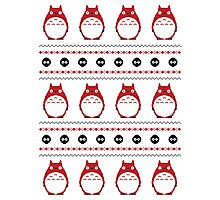 Totoro Winter Pattern - Red Photographic Print