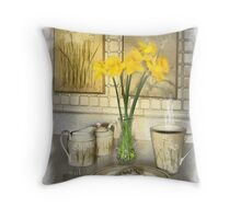 Coffee and Cake with Daffodils Throw Pillow