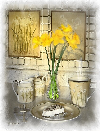 Coffee and Cake with Daffodils by Kenneth Hoffman