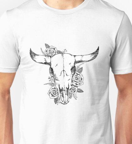 cow skull and roses - full front shirt Unisex T-Shirt