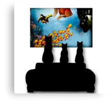 Charming Cats Watching Aquarium Canvas Print