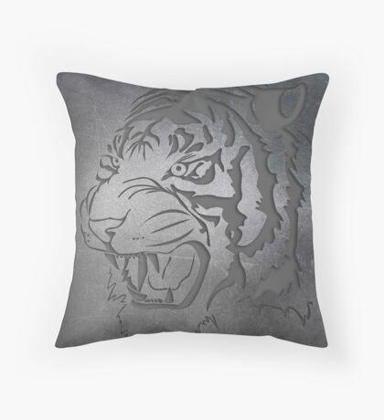 Metal engraved Tiger Throw Pillow
