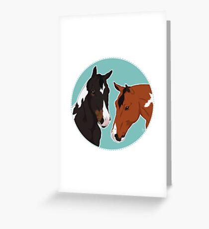 Major & Dino / paint horse dark bay tobiano bay tobiano show horses equestrian equine sports art illustration drawing Greeting Card