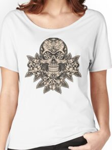 Flowering Sugar; Skulling Series Women's Relaxed Fit T-Shirt
