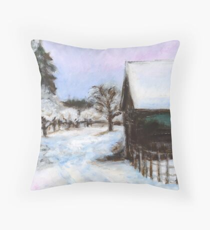 Winter Comes to the Peach Orchard Throw Pillow