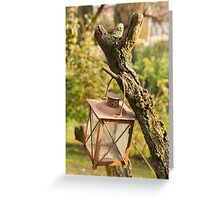 old lamp in the garden Greeting Card