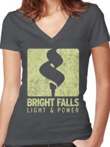 Bright Falls Light & Power (Alt.) (Grunge) Women's Fitted V-Neck T-Shirt
