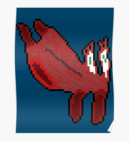 Abstract Pixel Crab Poster