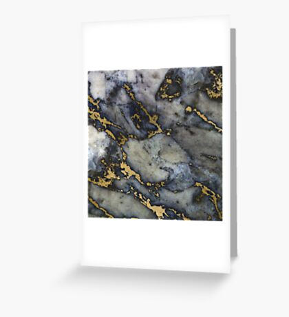 Grey black marble gold streaks phone case cover Greeting Card