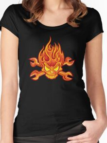 Flaming Headache; Skulling Series Women's Fitted Scoop T-Shirt