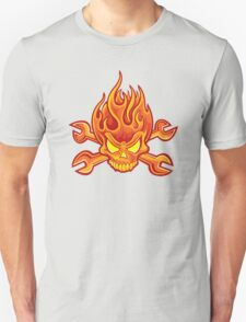 Flaming Headache; Skulling Series Unisex T-Shirt