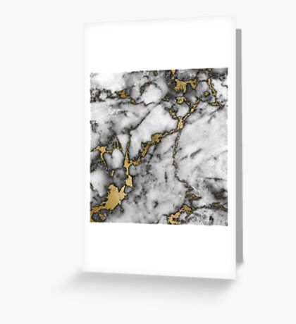 Grey marble gold streaks phone case cover Greeting Card