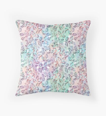 Abstract floral pattern. Tender twigs in watercolor background . Throw Pillow