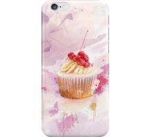 Sweet cup cake with watercolor splashes iPhone Case/Skin