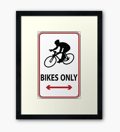 Road Bikes Only Framed Print