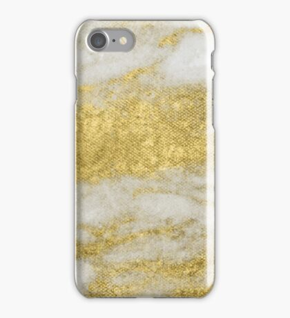 Marble - Glittery Gold Marble and White Pattern iPhone Case/Skin