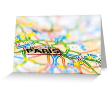 Close-up on Paris city on map, travel destination concept Greeting Card