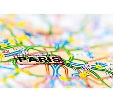 Close-up on Paris city on map, travel destination concept Photographic Print