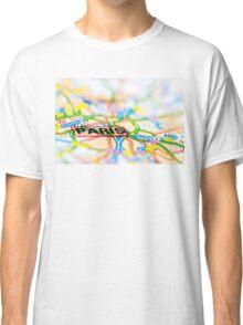 Close-up on Paris city on map, travel destination concept Classic T-Shirt