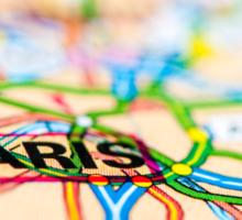 Close-up on Paris city on map, travel destination concept Sticker