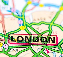 Close-up on London city on map, travel destination concept by Stanciuc