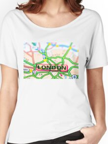 Close-up on London city on map, travel destination concept Women's Relaxed Fit T-Shirt