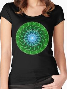 Waves of Green Mandala Women's Fitted Scoop T-Shirt